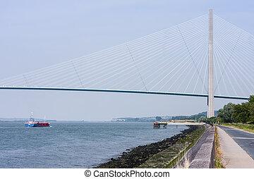 Pont de Normandy over river Seine, France - Pont de Normandy...