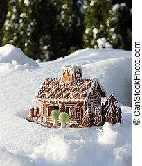 Gingerbread house in real snow - Gingerbread house in real...