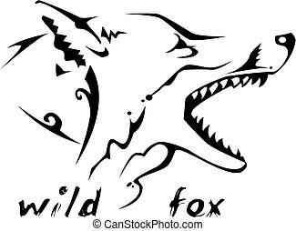 Tribal tattoo Wild fox - Black and white vector: wild fox...