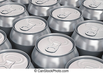 Aluminum beer cans -  isolated over white background