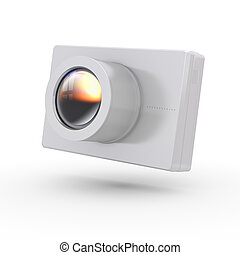 Simple compact photo camera - isolated on white background