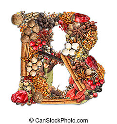 Spices letter - Letter B made of spices isolated on white...