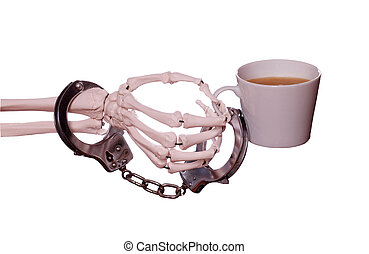 captured coffee with handcuff on skeleton hand