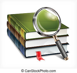 Books and magnifying glass on white - New books and...