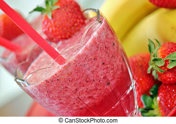 Fruit smoothies - Fresh fruit smoothies with strawberries...