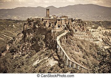 Italian Hilltown Civita di Bagnoregio. Filtered image