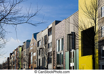 colorful houses - modern colorful houses in IJburg,...