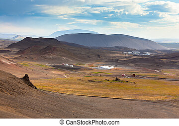 Landscape with Geothermal Power Station in Iceland
