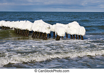 Ice-covered breakwater
