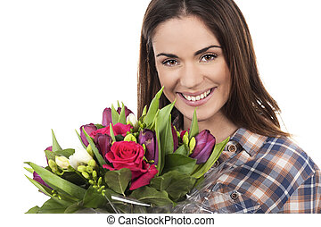 beautiful young woman with bouquet