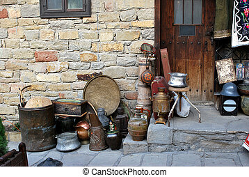 antique shop on a tourist street in Veliko Turnovo Bulgaria