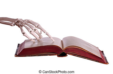 skeleton hand with old book