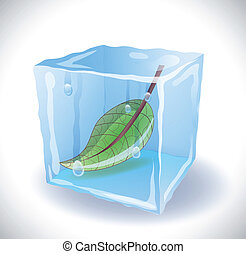 Ice cube with leaf