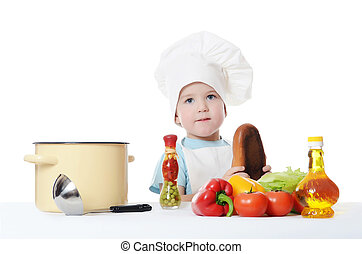 The little boy in a hat of the cook - The little boy in hat...