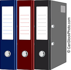 Stationery red, blue, black folders with documents isolated....
