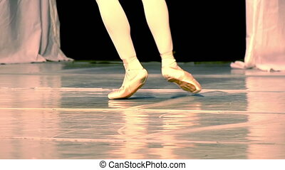 Ballerina Legs - Dancer Runs around the Stage and stands on...