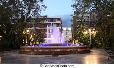 Colorful illuminated fountain