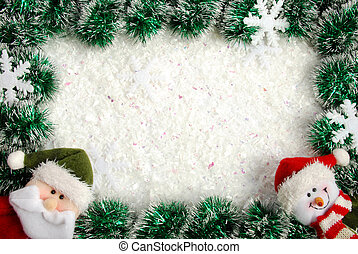 Christmas frame from a garland, snowflakes, Santa and...