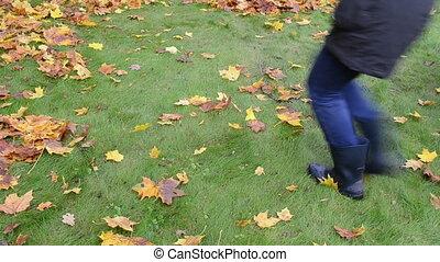 woman shake branch leaf