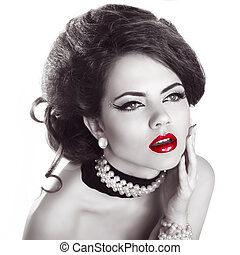 Red lips, Sexy young pretty woman model with red lips,...