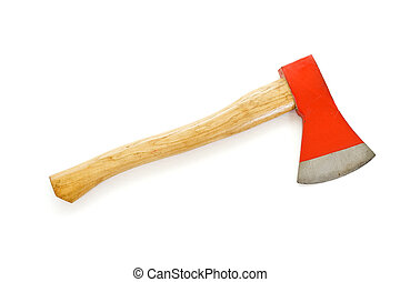 Axe with wooden handle and red blade - isolated
