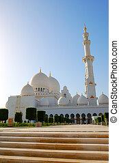 jeque, Zayed, magnífico, mezquita, Durante, ocaso,...