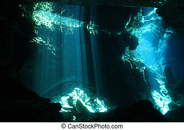 Sunbeams Breaking Through the Surface in Chac Mool Cenote,...