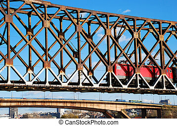 Locomotive on railway bridge - locomotive railway bridge...