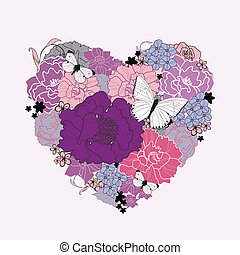 heart of flowers Hand drawn