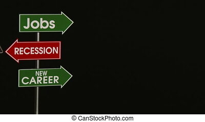 Business, Jobs, Recession, Out - Traffic Signs Concept