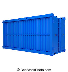 Blue container Isolated render on a white background