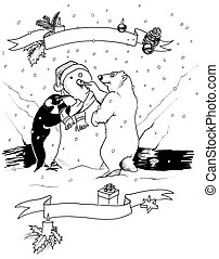 Black and white Christmas scene - Illustration of a penguin...