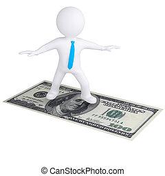 3d white man flying on the dollar bill