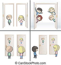 Collection of kids and doors. Vector design.