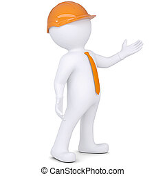 3d white man in helmet points hand Isolated render on a...