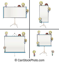 Set of images with many children around projector screens....