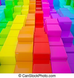 Abstract wall of colored cubes 3d render