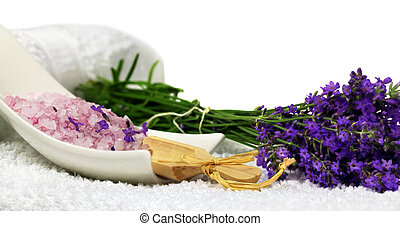 Lavender spa decoration - Lavender bath salt with fresh...
