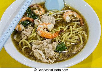 Hokkien Prawn Mee Soup Noodle Closeup - Hokkien Prawn Mee...