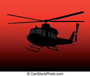 helicopter - black silhouette of helicopter on a red...