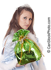 Snow Maiden with a gift on a white background