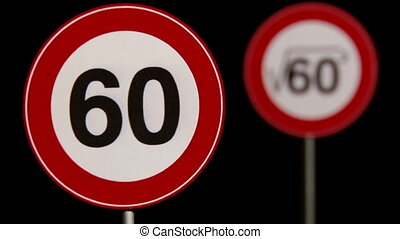60 kmh, square root - Signs - Traffic Signs Concept