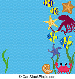 Vector card with sea animals - Blue marine card with...