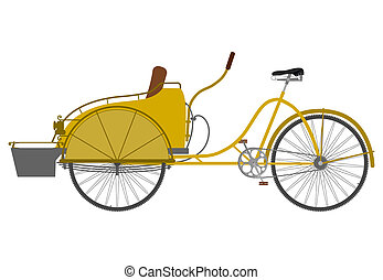 Rickshaw - Carrier bicycle silhouette on a white background.