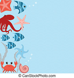 Vector card with sea animals - Wavy marine card with sea...
