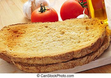tomate, aceite, Rebanadas, ajo, aceituna, tostado,  bread