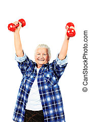 strenght - Happy grandma doing exercises with dumbbells....