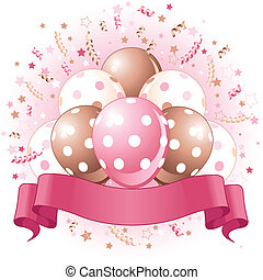 Pink Birthday balloons design - Birthday balloons, confetti...