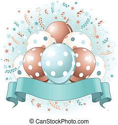 blu, palloni, compleanno, disegno