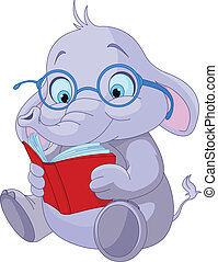 Cute Elephant Education - Cute elephant with glasses reading...